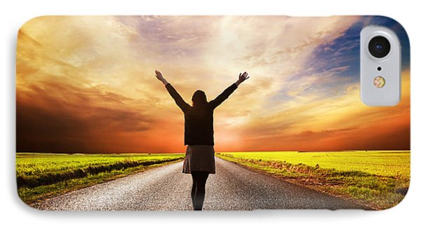 Happy Woman Standing On Long Road At Sunset IPhone Case by Michal Bednarek