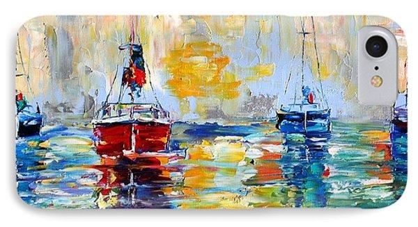 Harbor Boats At Sunrise Phone Case by Karen Tarlton
