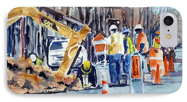 IPhone Case featuring the painting Hard Hats Digging Crew by Ron Stephens