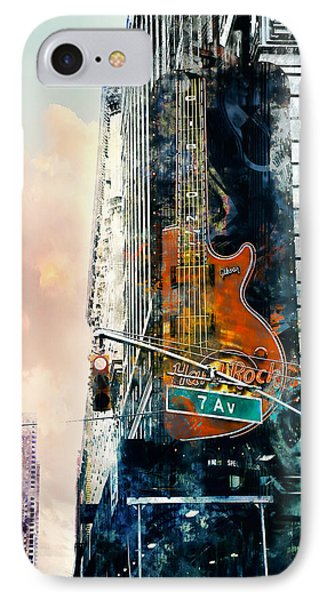 Hard Rock And 7th Ave. IPhone Case by John Rivera