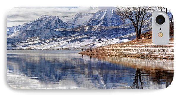 Hardy Fishermen Deer Creek Reservoir And Timpanogos In Winter Phone Case by Gary Whitton