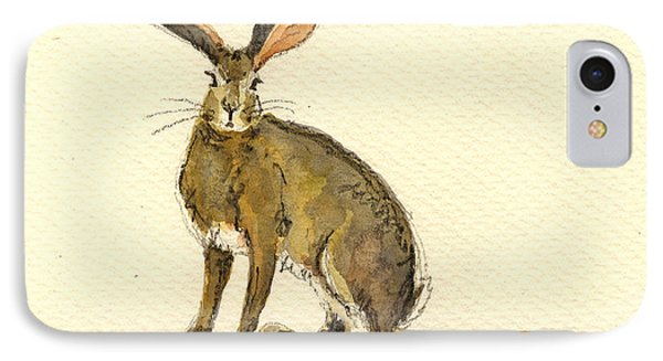 Rabbit iPhone 7 Case - Hare  by Juan  Bosco