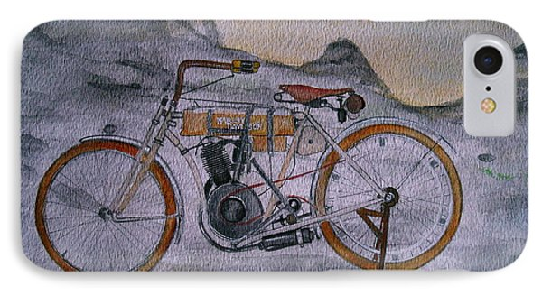 IPhone Case featuring the painting Harley Davidson 1907 Bike by Pristine Cartera Turkus