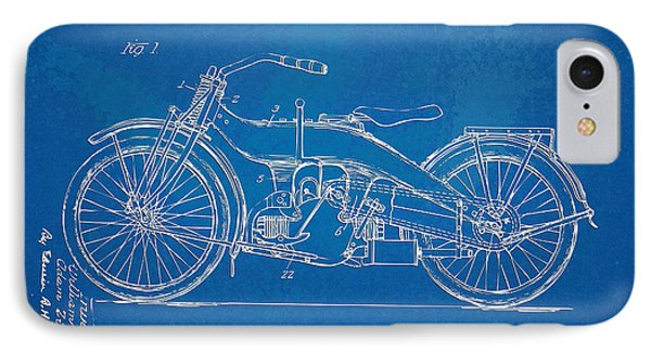 Motorcycle iPhone 7 Case - Harley-davidson Motorcycle 1924 Patent Artwork by Nikki Marie Smith