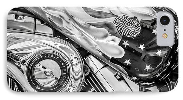 Harley Davidson Motorcycle Stars And Stripes Fuel Tank - Black And White IPhone Case by Ian Monk