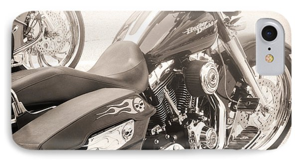 Harley Davidson With Flaming Skulls IPhone Case