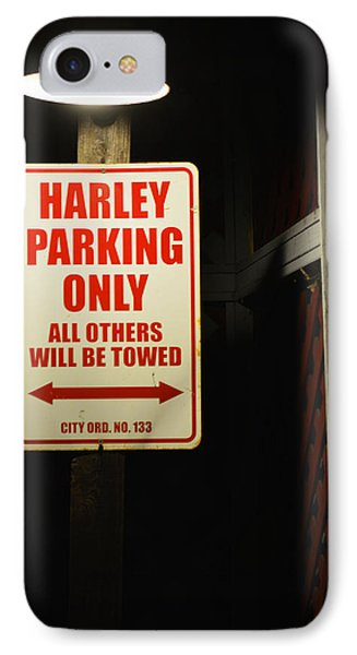 Harley Parking Only IPhone Case by Tommy Anderson