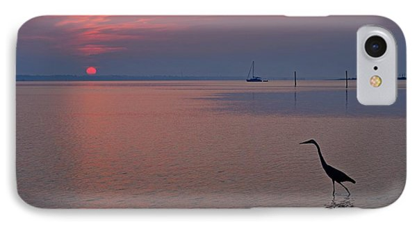 IPhone Case featuring the photograph Harry The Heron Fishing On Santa Rosa Sound At Sunrise by Jeff at JSJ Photography