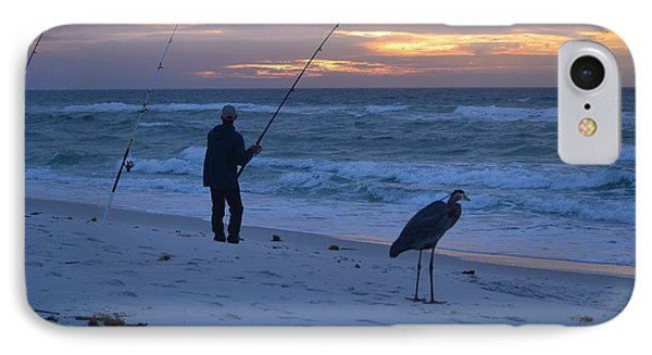 IPhone Case featuring the photograph Harry The Heron Fishing With Fisherman On Navarre Beach At Sunrise by Jeff at JSJ Photography