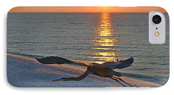 IPhone Case featuring the photograph Harry The Heron Takes Flight To Reposition His Guard Over Navarre Beach At Sunrise by Jeff at JSJ Photography