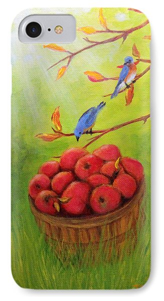 Harvest Apples And Bluebirds IPhone Case by Janet Greer Sammons