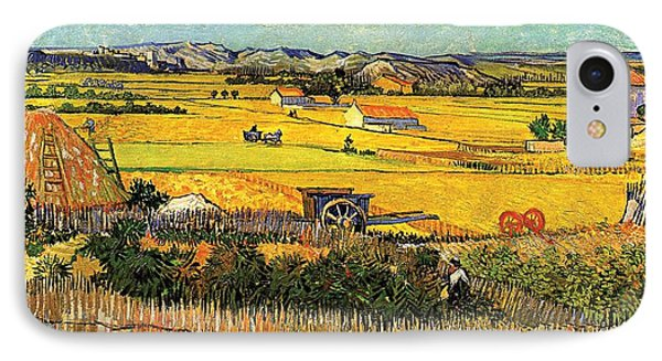 Harvest At La Crau With Montmajour In The Background IPhone Case