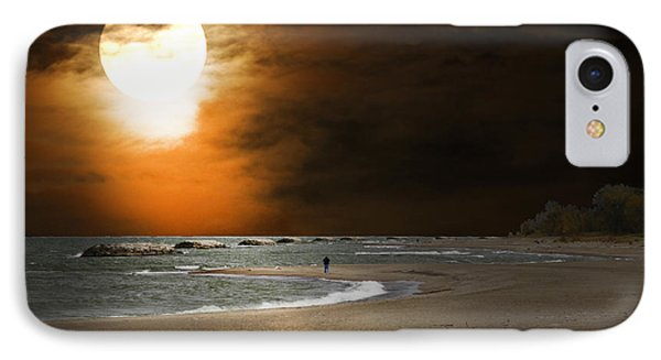 Harvest Moon On The Beach IPhone Case by Randall Branham