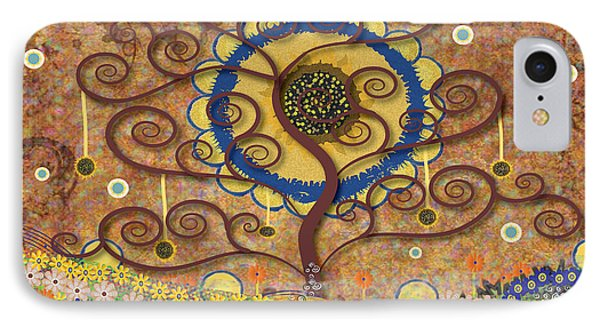IPhone Case featuring the tapestry - textile Harvest Swirl Tree by Kim Prowse
