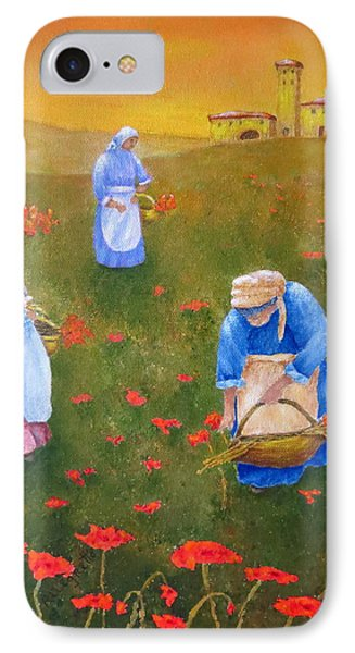 Harvesting Poppies In Tuscany IPhone Case