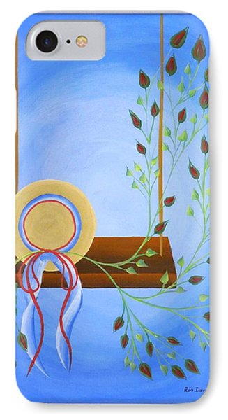 IPhone Case featuring the painting Hat On A Swing by Ron Davidson