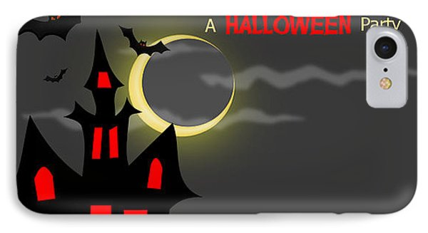 Haunted House Halloween Party Invitation Phone Case by Vickie Collyer