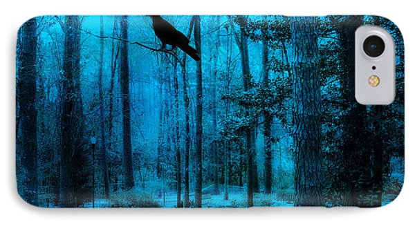 Haunting Dark Blue Surreal Woodlands With Crow  IPhone Case by Kathy Fornal