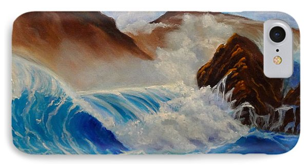 IPhone Case featuring the painting Hawaii On The Rocks by Jenny Lee