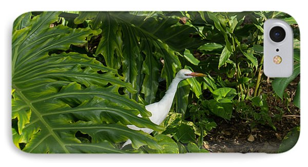 Hawaiian Garden Visitor - A Bright White Egret In The Lush Greenery IPhone Case by Georgia Mizuleva