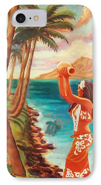 IPhone Case featuring the painting Hawaiian Hula Wahine by Janet McDonald