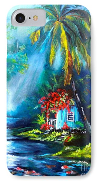 IPhone Case featuring the painting Hawaiian Hut In The Mist by Jenny Lee
