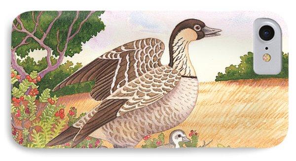 Hawaiian Nene Goose And Goslings Phone Case by Tammy Yee
