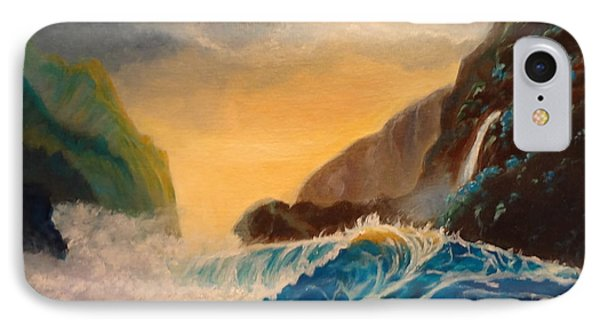 IPhone Case featuring the painting Hawaiian Turquoise Sunset   Copyright by Jenny Lee