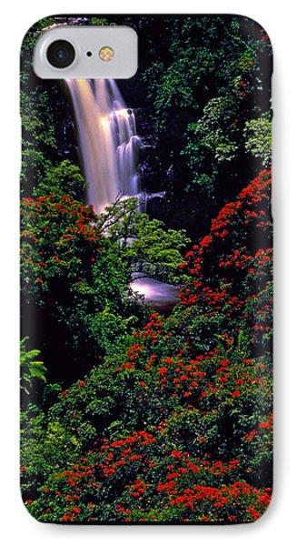 Hawaiian Waterfall With Tulip Trees IPhone Case by Marie Hicks