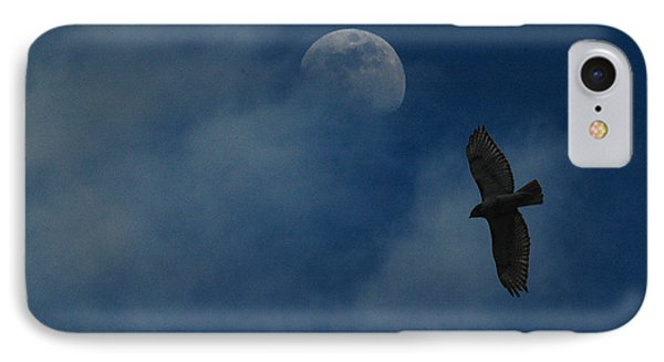 IPhone Case featuring the photograph Hawk And Moon Coming Out Of The Mist by Raymond Salani III