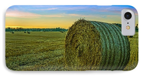 Hay Bales Before Dusk IPhone Case by Alex Weinstein