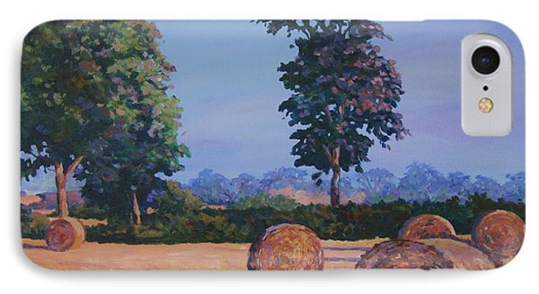 Hay-bales In Evening Light Phone Case by John Clark