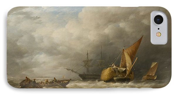 Hay Barges In The Thames Estuary IPhone Case by Alfred Herbert