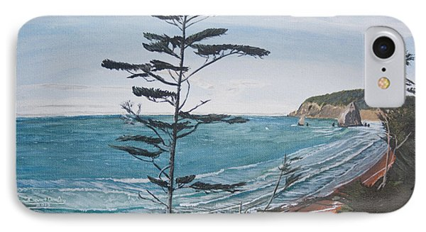 IPhone Case featuring the painting Hay Stack Rock From The South On The Oregon Coast by Ian Donley