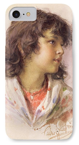 Head Of A Girl IPhone Case by Ludwig Passini