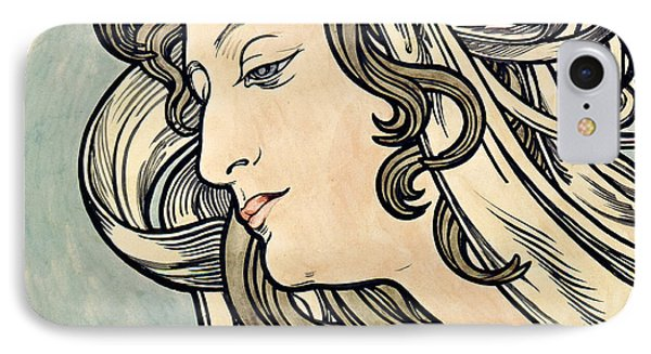 Head Of A Woman IPhone Case by Alphonse Marie Mucha