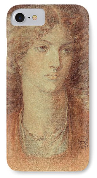 Head Of A Woman Called Ruth Herbert IPhone Case by Dante Charles Gabriel Rossetti