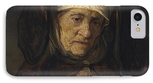 Head Of An Aged Woman IPhone Case by Rembrandt