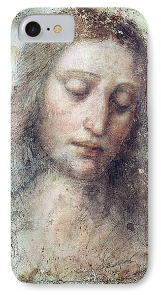 IPhone Case featuring the drawing Head Of Christ Restoration Art Work by Karon Melillo DeVega