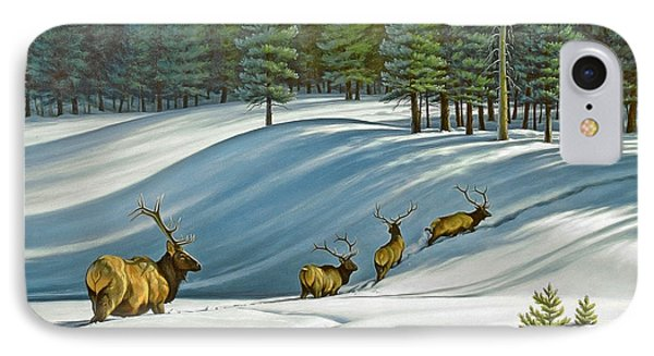 Heading For Timber - Elk Phone Case by Paul Krapf