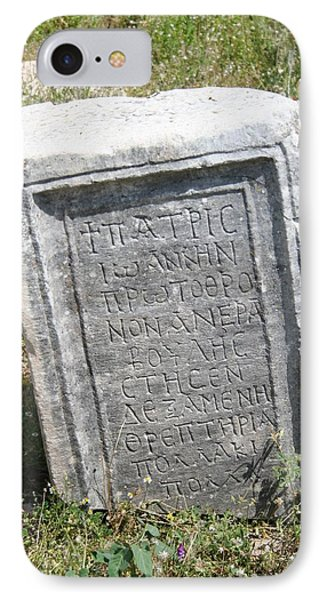 Headstone In The Basilica Church Aphrodisias Phone Case by Tracey Harrington-Simpson