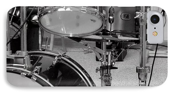 Hear The Music - A Drum Set Up For Recording IPhone Case by Ron Grafe