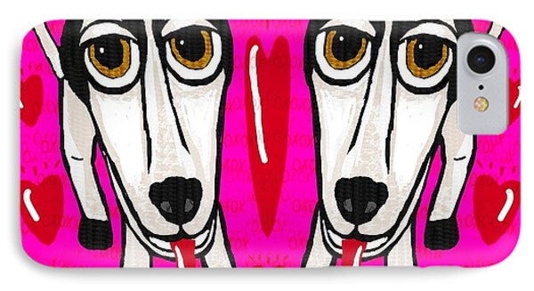 Heart Dogs Phone Case by Leonore Shield