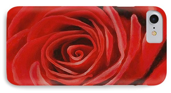 IPhone Case featuring the painting Heart Of A Red Rose by Sophia Schmierer
