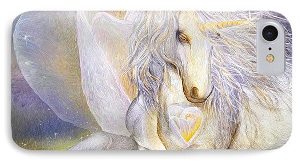 IPhone Case featuring the mixed media Heart Of A Unicorn by Carol Cavalaris