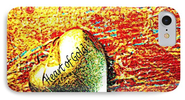 Heart Of Gold IPhone Case by Rita Brown