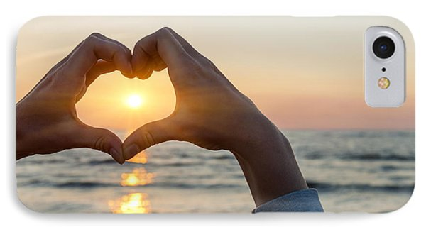 Heart Shaped Hands Framing Ocean Sunset IPhone Case by Elena Elisseeva