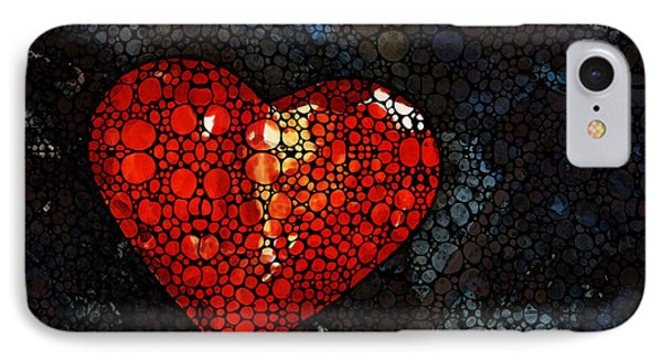 Heart - Stone Rock'd Art By Sharon Cummings IPhone Case by Sharon Cummings