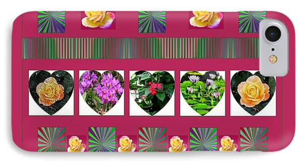 Hearts And Flowers 2 Phone Case by Marian Bell