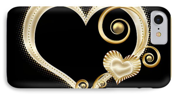 Hearts In Gold And Ivory On Black IPhone Case by Rose Santuci-Sofranko